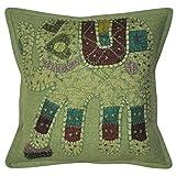 Lalhaveli Elephant Design Patchwork Cotton Pillow Cover 16 Inches 1 Pc - B00MXTB9PG