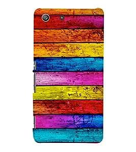 Multicolour Wooden Pattern 3D Hard Polycarbonate Designer Back Case Cover for Sony Xperia M5 Dual :: Sony Xperia M5 E5633 E5643 E5663