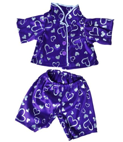 "Dark Purple Heart Pj's Outfit Fits Most 8""-10"" Webkinz, Shining Star and 8""-10"" Make Your Own Stuffed Animals and Build-A-Bear - 1"