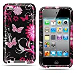 Apple Ipod Touch 4 Crystal Snap-on Pink Butterfly Protector Hard Cover Case