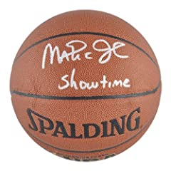 Los Angeles Lakers Magic Johnson Autographed Basketball - Mounted Memories Certified...