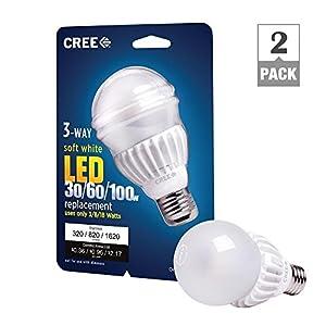 Cree 3 Way LED Light Bulb 3/8/18-watt (30/60/100-watt) Soft White (2700k) - 320/820/1620 Lumens - Omnidirectional (2 pack)