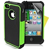 Supergets®Shock Proof Dual Layer Apple Iphone 4 4g 4s Protective Case,Screen Protector And Polishing Cloth - Green