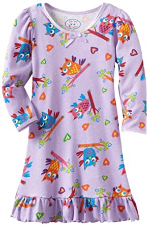 Sara's Prints Girls 2-6X Puffed Sleeve Nightgown, Hoot Owls, 2