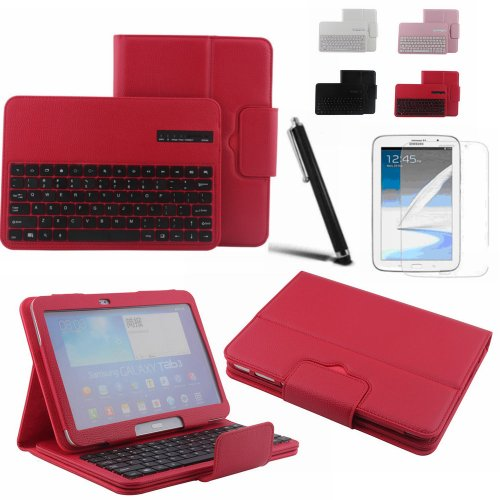 Boriyuan Removable Portable Magnetic Flip Folding Book Style Wireless Bluetooth Keyboard Carrying Case Protective Pu Leather Viewing Stand Cover For Samsung Galaxy Tab 3 10.1 P5200 P5210 With Touch Stylus Pen And Screen Protector Red
