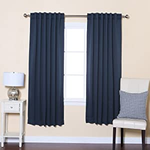 Premium Solid Thermal Insulated Blackout Curtain 183cm L 1 Pair Navy Kitchen Home