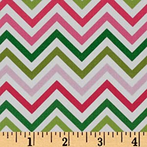 44'' Wide Remix Zig Zag Pink/Lime Fabric By The Yard