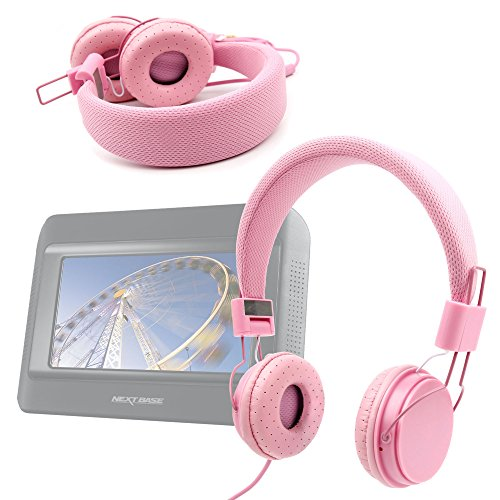 Duragadget Ultra-Stylish Pink Kids Fashion Headphones With Padded Design, Button Remote And Microphone For Nextbase Click & Go Click 7 Lite Duo Twin Screen Portable Dvd Player