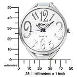 BONGO Women's BG6140 Oversized White Dial Crocodile Leather Strap Watch