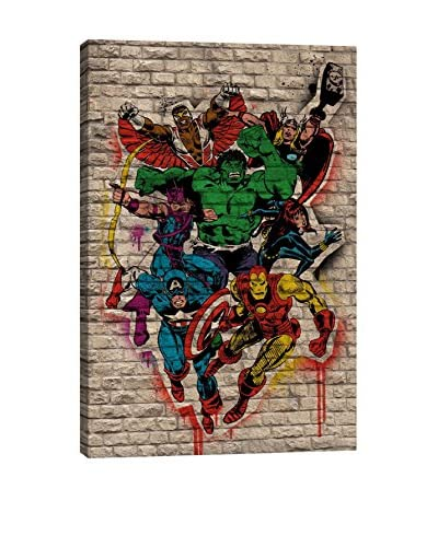 Marvel Comics Gallery Captain America, Hulk, Hawkeye, Black Widow, Iron Man, Falcon And Thor Graffit...