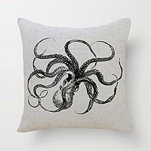 Cotton Linen Throw Pillow Case Cushion Cover Colorful18x18,CCMahn, Octopus