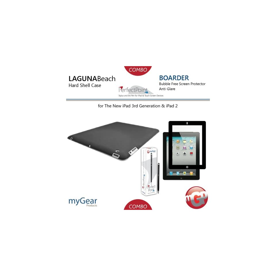 myGear Products LagunaBeach PC Case, PerfectPoint Plus Stylus, & Boarder Anti Glare Bubble Free Screen Protector Combo Pack for The New iPad 3 3rd Generation & iPad 2