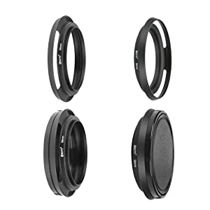 SIOTI Filmy Wide Angle Vented Metal Lens Hood with Cleaning Cloth and Lens Cap Compatible with Leica/Fuji/Nikon/Canon/Samsung Standard Thread Lens (Color: Wide Angle Vented, Tamaño: 58mm)