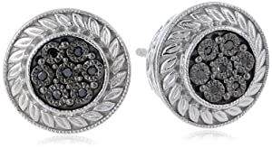 Sterling Silver Black Diamond-Accent Stud Earrings (0.04 cttw)