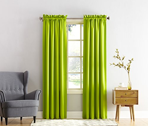 Sun Zero Barrow Energy Efficient Rod Pocket Curtain Panel, 54 x 84 Inch, Lime Green (Panel Curtain Green compare prices)
