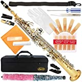 300-LN - GOLD Body/Silver KeysBb STRAIGHT SOPRANO Saxophone Sax Lazarro with CURVED and STRAIGHT NECKS+11 Reeds,Care Kit - 22 COLORS - SILVER or GOLD KEYS - CHOOSE YOURS !