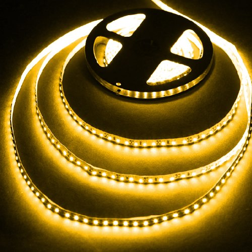 16.4Ft (5M) Amber Waterproof Flexible Led Strip Lights - 3528 Smd 600Leds/Pc - Waterproof Ip-65