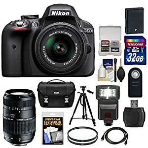 Nikon D3300 Digital SLR Camera & 18-55mm G VR DX II AF-S Zoom Lens with 70-300mm Lens + 32GB Card + Battery + Case + Filters + Flash + Tripod + Accessory Kit