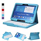 NEWSTYLE Removable Wireless Bluetooth Keyboard ABS Plastic Laptop Stylish Keys and Protective Case For Samsung Galaxy Tab 3 10.1 10.1 inch Tablet P5200 & Galaxy Tab 4 10.1 inch Tablet SM-T530 T531 T535 (Blue)