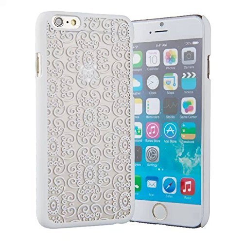 """""""6 Case, iPhone 6 Case -LUOLNH Carved Damask Vintage Pattern Matte Hard Case Cover For iPhone 6 4.7 inch (Not for iPhone 6 Plus) - White"""""""