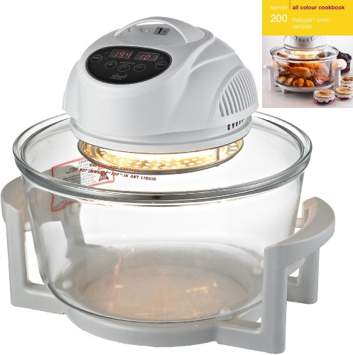 Shef - 12 Litre Premium Halogen Oven with DIGITAL DISPLAY - 1400W + Extender Ring (17L) + Many Accessories + FREE 200 page ALL Colour Recipe Book by Hamlyn RRP £4.99