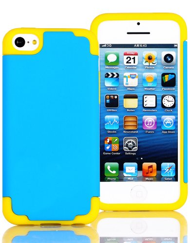 Mylife (Tm) Sky Blue + Yellow Style 2 Layer (Hybrid Flex Gel) Grip Case For New Apple Iphone 5C Touch Phone (External Single Piece Full Body Defender Armor Rubberized Shell + Internal Gel Fit Silicone Flex Protector + Lifetime Waranty + Sealed Inside Myli