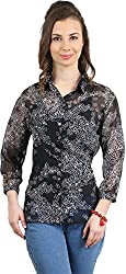 Amadeo Women's 3/4 th Sleeve Shirt (KRISHA11, Navy Blue, Small)