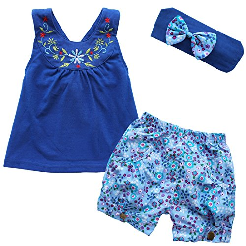 iiniim Toddler Infant Girls 3pcs Floral Embroideries Outfit Headband + Vest Top + Shorts Clothes Set Blue 18-24 Months