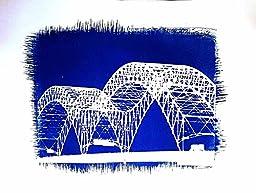 Cyanotype of The Hernandez DeSoto Bridge, Memphis TN