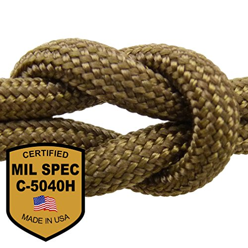 MilSpec Coyote Brown Paracord. Guaranteed MIL-C-5040H Compliant, Military Survival 550 Parachute Cord, Type III. Made in U.S. 100% Nylon, 600