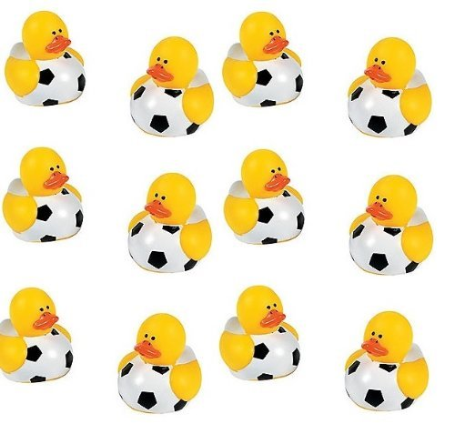 Lot Of 12 Mini Soccer Ball Rubber Ducks - Party Favors - 1