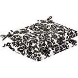 Pillow Perfect Indoor/Outdoor Black/Beige Damask Seat Cushion, Squared, 2-Pack