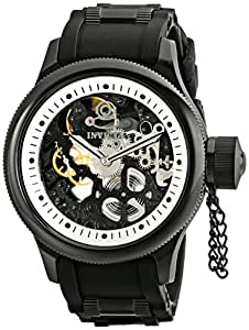 Invicta Men's 1091 Russian Diver Stainless Steel and Black Polyurethane Mechanical Watch with Skeleton Window