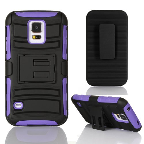 Gearit Samsung Galaxy S5 / Sv Case (Black / Purple) High Impact [Hybrid Armor] Dual Layer Cover Stand With Holster
