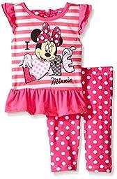 Disney Little Girls\' 2 Piece I Love Minnie Legging Set, Pink, 2T