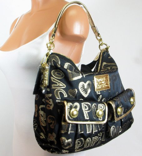 Coach Poppy Signature Storypatch Pocket Sac Shoulder Bag 15304 Black Gold
