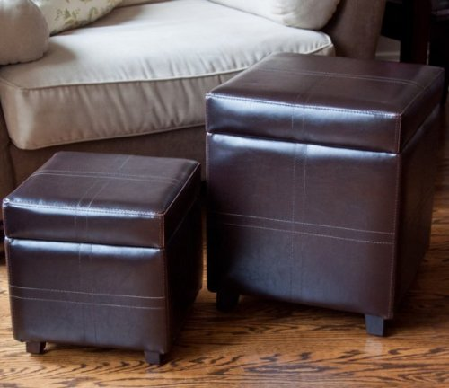 Simpli Home WS5122A Avalon Collection 2-Piece Square Storage Ottoman, PU Leather, 1-Pack
