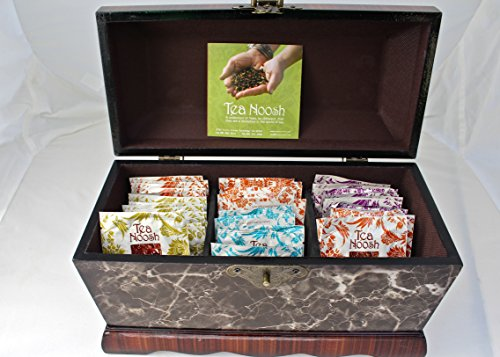 Tea Wooden Chest Variety Pack Of 4 Flavors- 60 Count With Orange Bellosom Honey