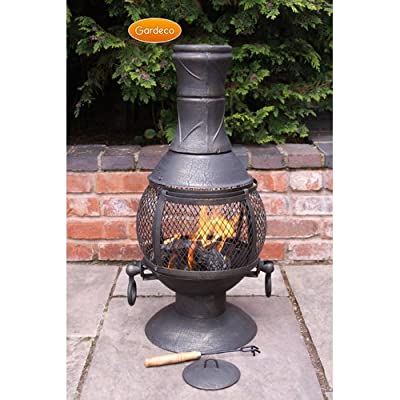 Medium Opera Cast Iron Open Bowl Chimenea In Bronze