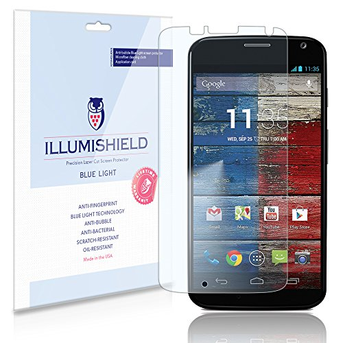 Illumishield - Motorola Moto X Xt1056 (Hd) Blue Light Uv Filter Screen Protector Premium High Definition Clear Film / Reduces Eye Fatigue And Eye Strain - Anti- Fingerprint / Anti-Bubble / Anti-Bacterial Shield - Comes With Free Lifetime Replacement Warra