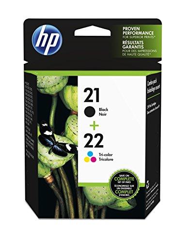 HP 21 22 Ink Cartridges (Cartuchos) Black and Color Combo Pack Original (C9509FN)