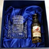 Crystal Whisky Glass Personalised with your Own Message up to 30 Letters, With Miniature Famous Grouse in Silk Lined Gift Box
