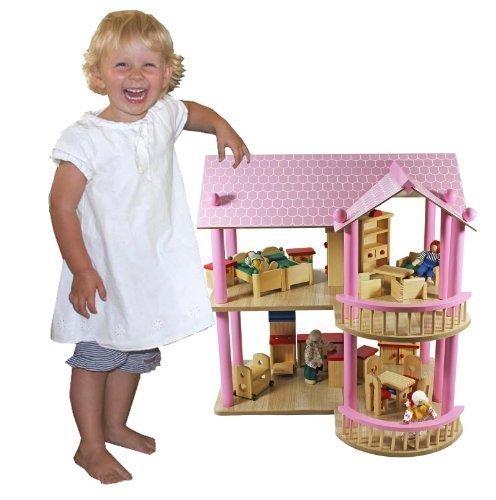 Lilly riesiges XL Puppenhaus Villa aus Holz + Möbel + Puppen 48x40x49,5cm