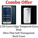 Febelo Branded Combo Pack 2.5D 0.33mm Curve Edge Tempered Glass Screen Protector + Perfect Fitting Soft Silicon Transparent Back Case Cover For Lenovo Zuk Z1