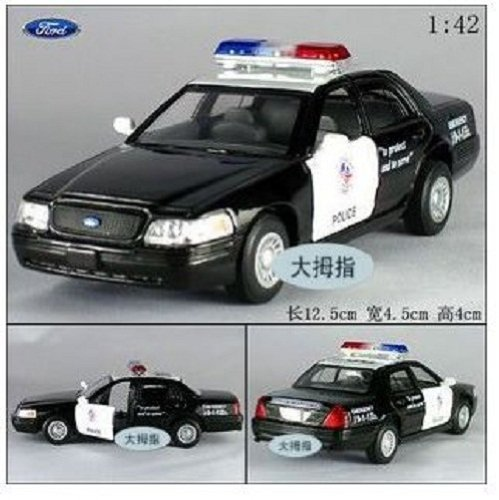 Brand New Ford Crown Victoria Police Interceptor 1:42 Diecast Model Car Black Toy B307 - 1