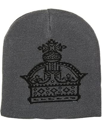 Outer Rebel Fashion Beanie- Grey with Crown