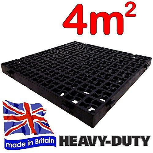 16 x schwarz kunststoff gehwegplatten einfahrt grid turf. Black Bedroom Furniture Sets. Home Design Ideas