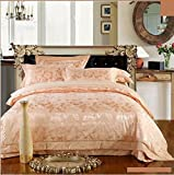 4pcs jacquard mulberry silk bedding set satin bed linen/bedclothes (King, Style15)