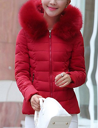 Da Wu Jia Ladies Cappotto donna corto Down Coat,carino casuale/Daily Solid-Polyester anatra bianca verso il basso il manicotto lungo Collo tondo rosa / rosso / nero / verde / giallo , s