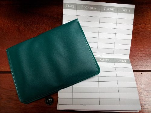5 Debit ATM Mini Checkbook Registers with Holder -- Forest Green (Transaction Register Holder compare prices)